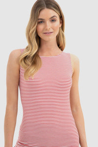 Bamboo Body Shell Top - Red + White Stripe