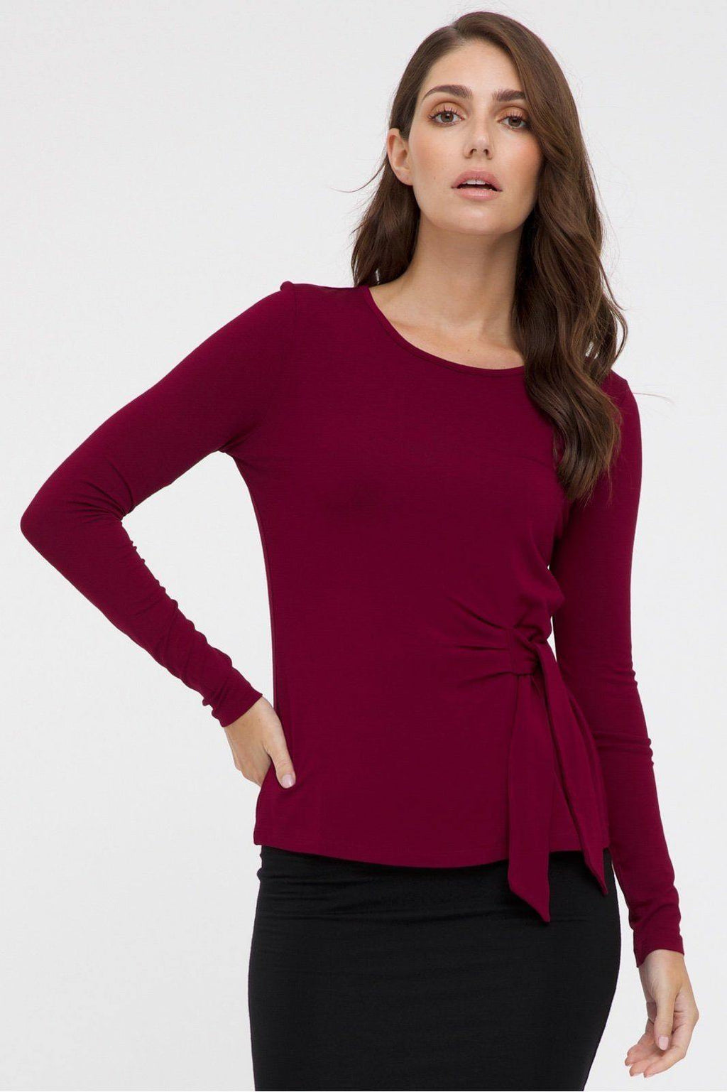 Bamboo Body Tie Front Top - Rich Red | Buy Online at Weekends