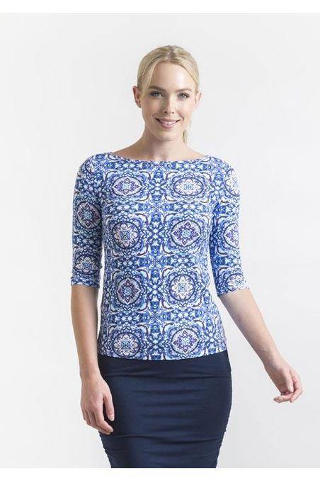 Bamboo Body Ada Bamboo Boat Neck Top - Mosaic | Buy Online at Weekends