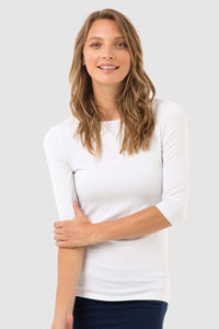 Bamboo Body Ada Bamboo Boat Neck Top - White | Buy Online at Weekends