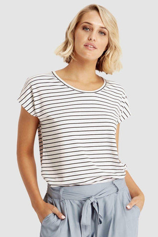 Bamboo Body Eadie Top - White and Black Stripes | Buy Online at Weekends