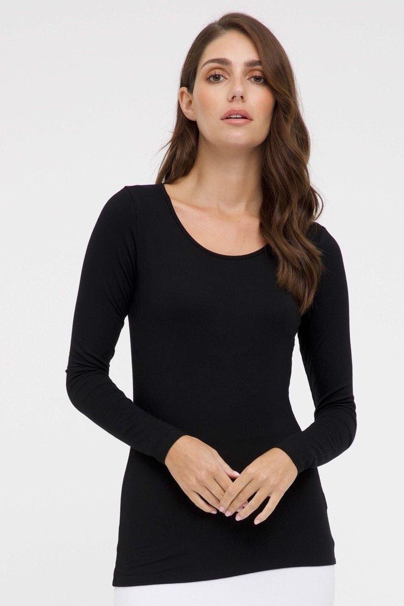 Bamboo Body Long Sleeve Layering Top - Black style {{product.sku}} - buy from Weekends on 2nd Ave at {{shop.url}} or visit our shop at Second Ave Plaza on the corner of Beaufort Street & Second Avenue Mount Lawley WA