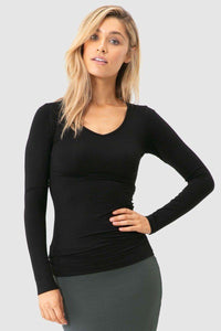 Bamboo Body Long Sleeve V Neck - Black