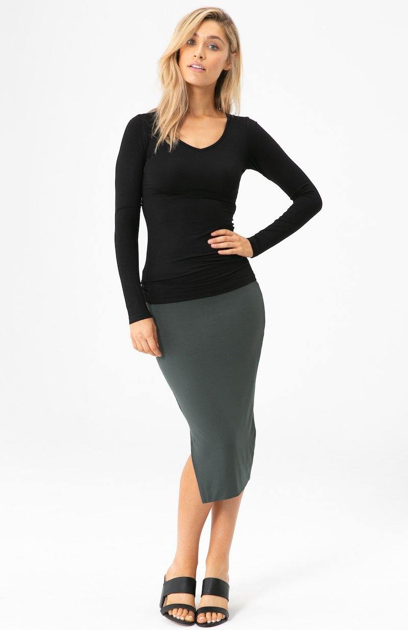 Bamboo Body Long Sleeve V Neck - Black | Buy Online at Weekends