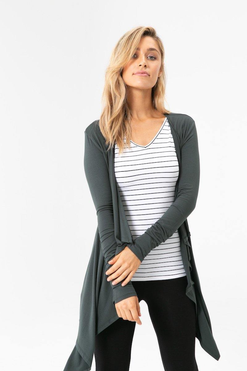Bamboo Body Long Sleeve V Neck - White & Black Stripe | Buy Online at Weekends