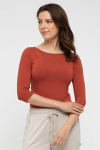 Ada Bamboo Boat Neck Top in Rust by Bamboo Body style {{product.sku}} - buy from Weekends on 2nd Ave at {{shop.url}} or visit our shop at Second Ave Plaza on the corner of Beaufort Street & Second Avenue Mount Lawley WA