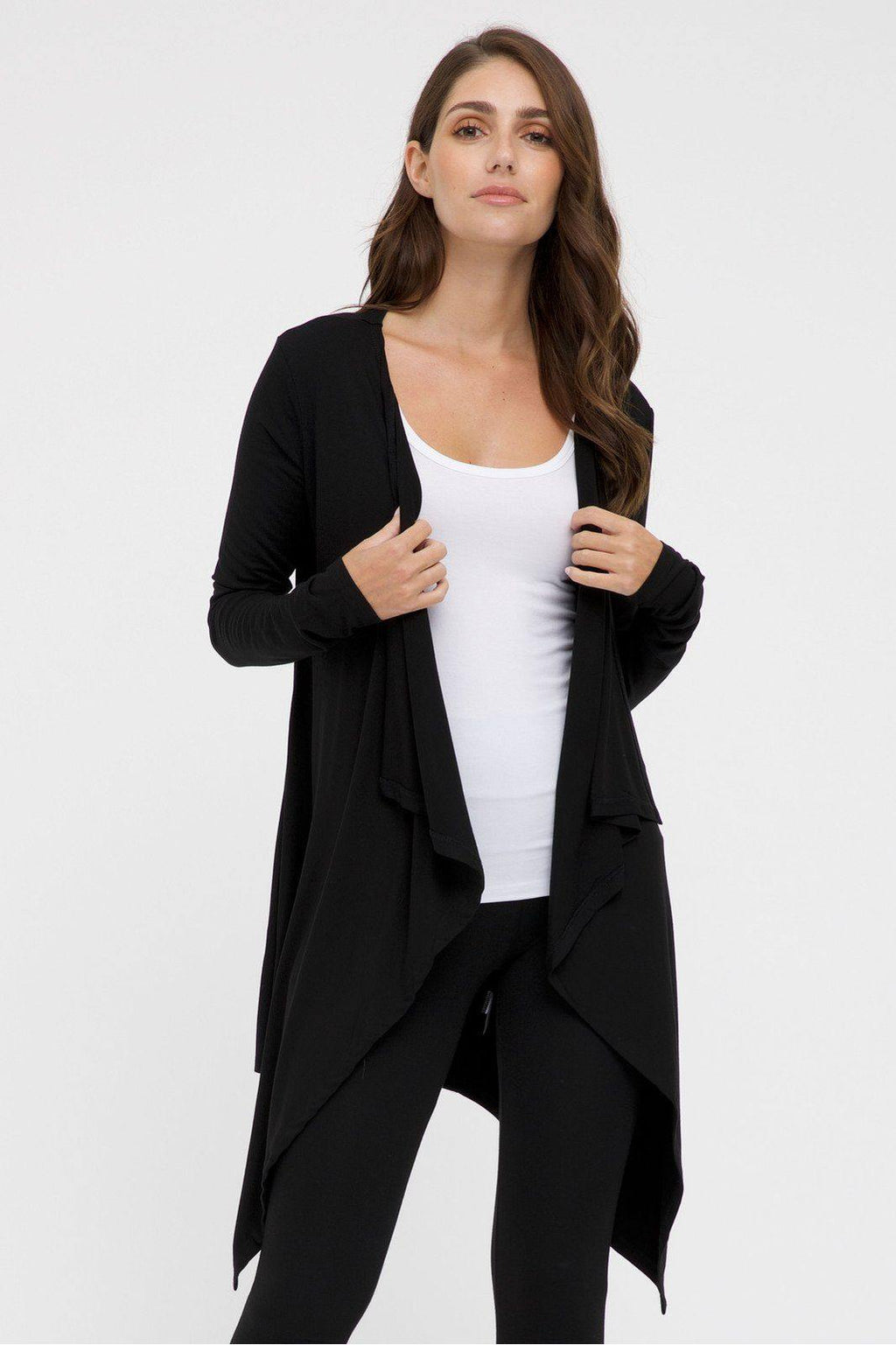 Bamboo Body Waterfall Cardigan - Black