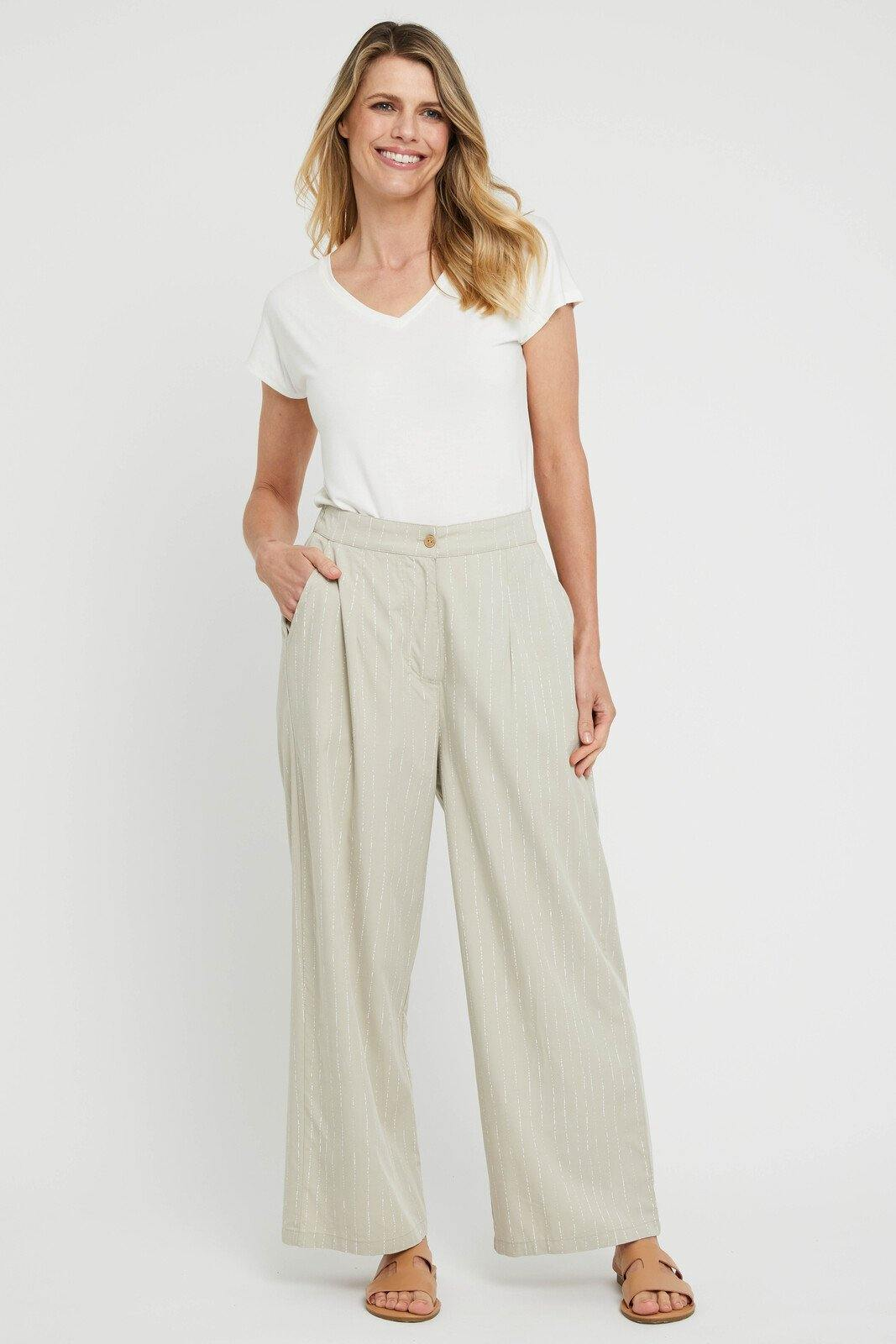 Woven Wide Leg Pant in Organic Pinstripe by Bamboo Body - Weekends on 2nd Ave