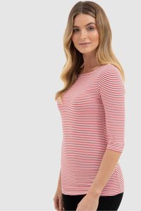 Bamboo Body Ada Bamboo Boat Neck Top - Red & White Stripe | Buy Online at Weekends