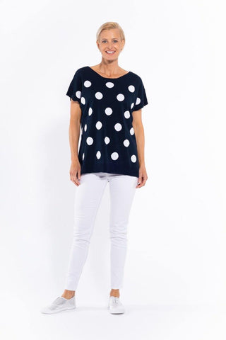 Spot Cotton Knit Top in Navy by Cafe Latte