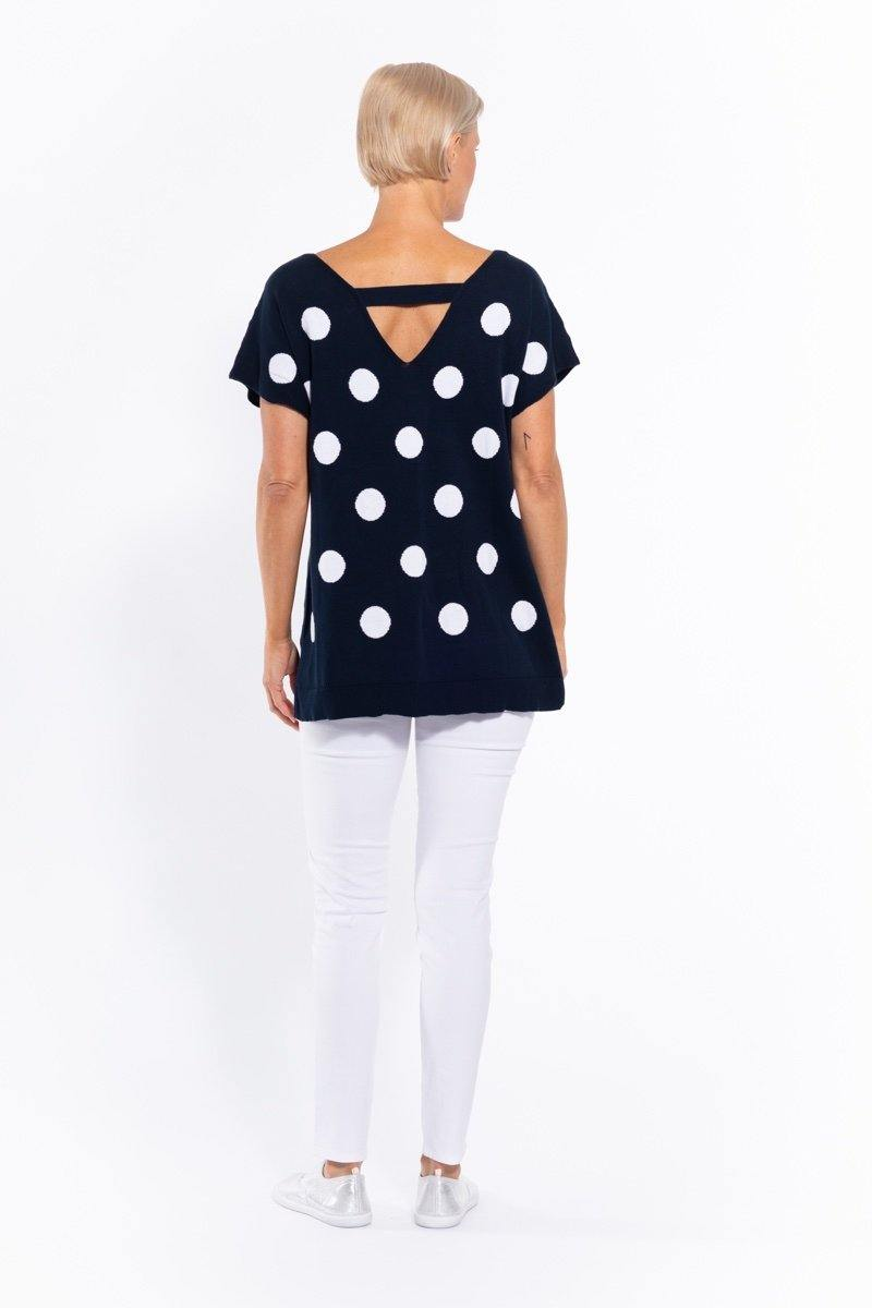 Spot Cotton Knit Top in Navy by Cafe Latte - Weekends on 2nd Ave