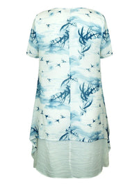 Birds in the Breeze Double Layer Dress - Caroline Morgan