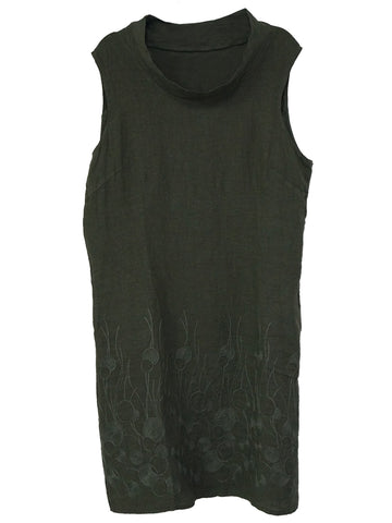 Embroidered Sleeveless Italian Linen Dress - Caroline Morgan | Buy Online at Weekends