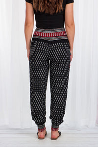 Caroline Morgan Black Paisley Print Harem Pant | Buy Online at Weekends