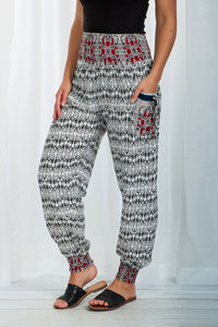 Caroline Morgan White Print Harem Pant | Buy Online at Weekends