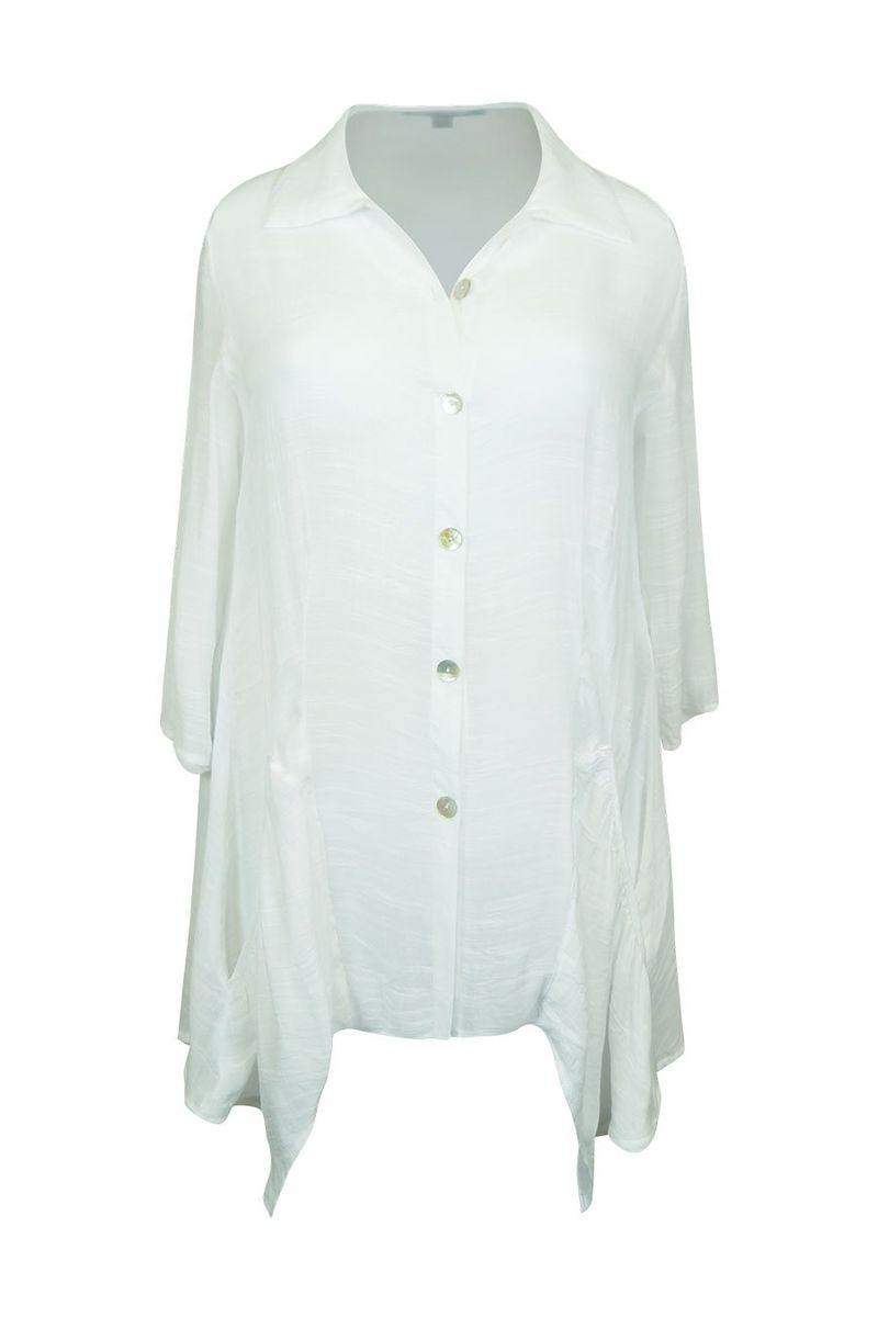 3/4 Sleeve Button Down Summer Tunic Top - Caroline Morgan | Buy Online at Weekends