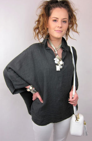 Boxy Linen Top - Conti Moda | Buy Online at Weekends