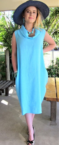 Italian Made by Conti Moda stunning cowl neckline linen dress an aqua colour, one size