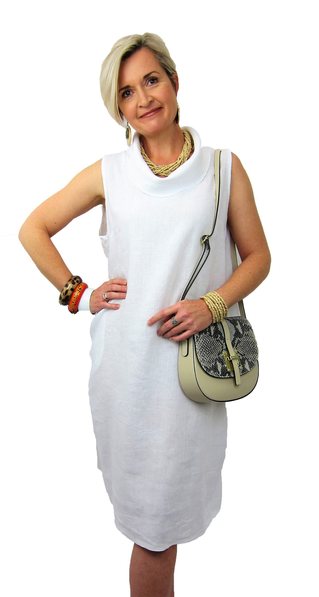 Italian Made by Conti Moda stunning cowl neckline linen dress in White, one size