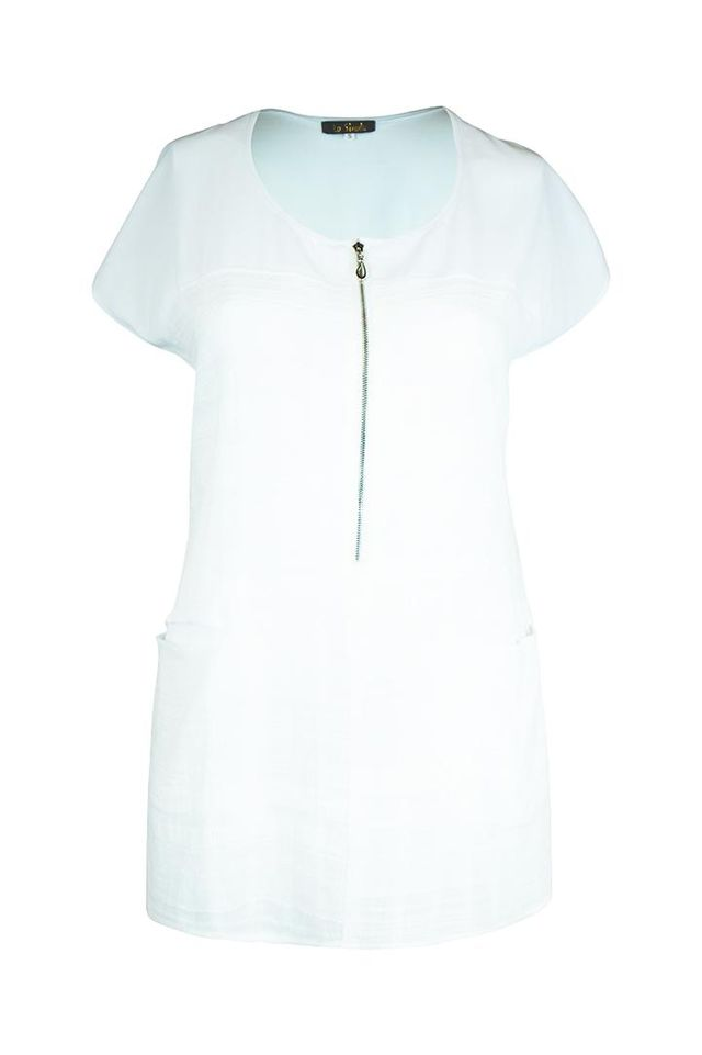 Cotton Chiffon Tunic with Zip - La Strada | Buy Online at Weekends