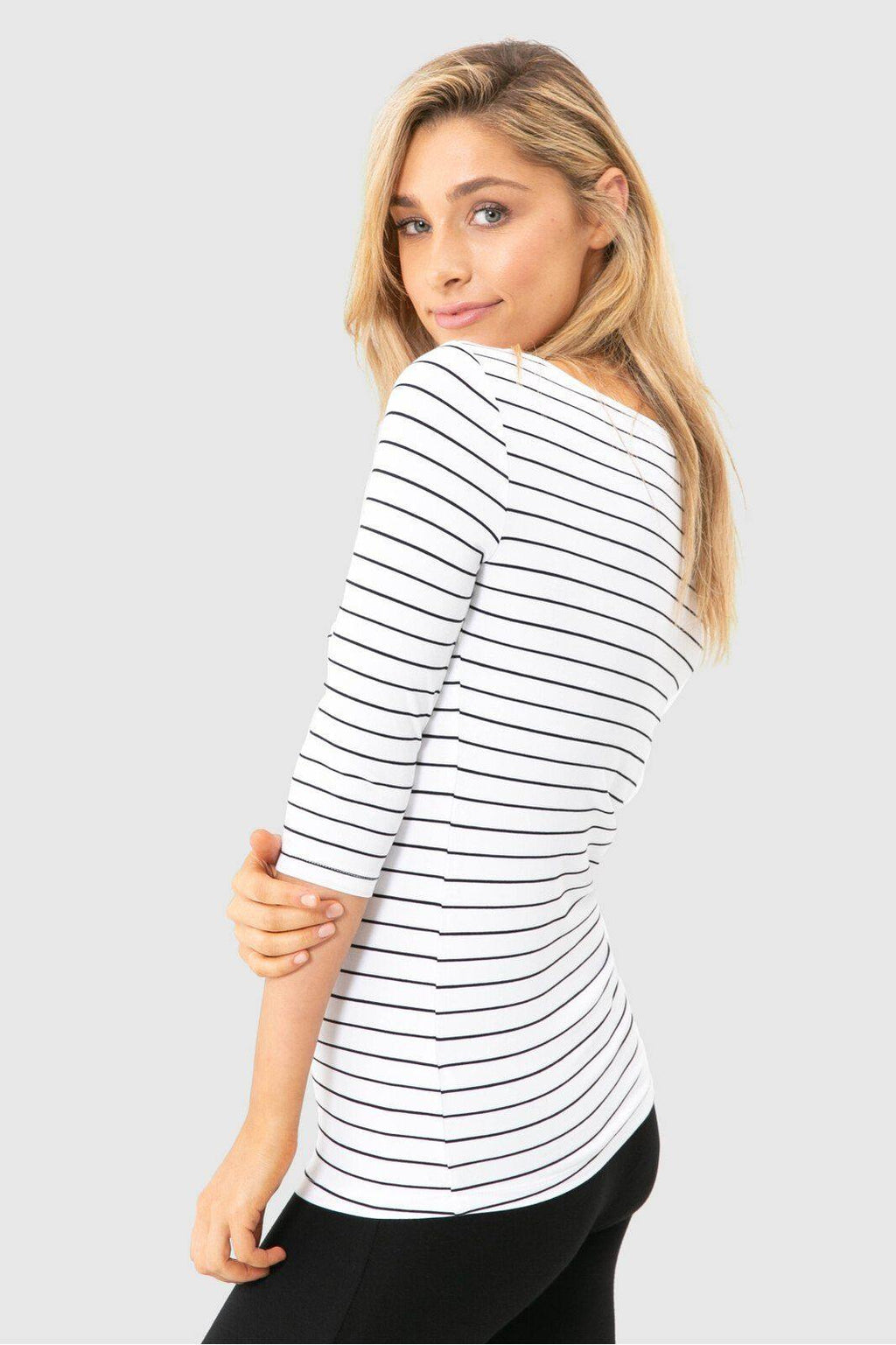 Bamboo Body Ada Bamboo Boat Neck Top - White & Black Stripe | Buy Online at Weekends