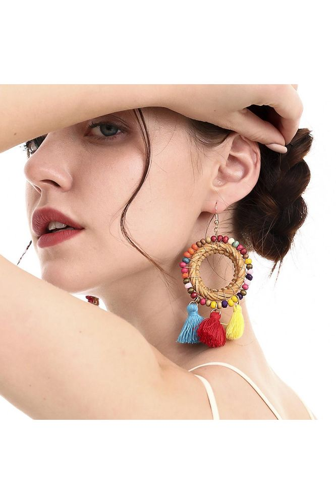 Bug & Bear Boho Rattan Tassel Earrings - Weekends on 2nd Ave - Accessories