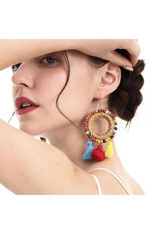 Bug & Bear Boho Rattan Tassel Earrings | Buy Online at Weekends