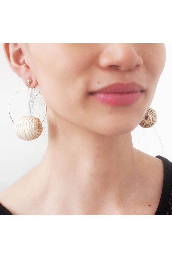 Bug & Bear Rattan Hoop Earrings - Weekends on 2nd Ave - Accessories