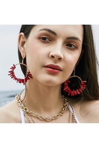Bug & Bear Wire & Red Coral Hoop Earrings - Weekends on 2nd Ave - Accessories