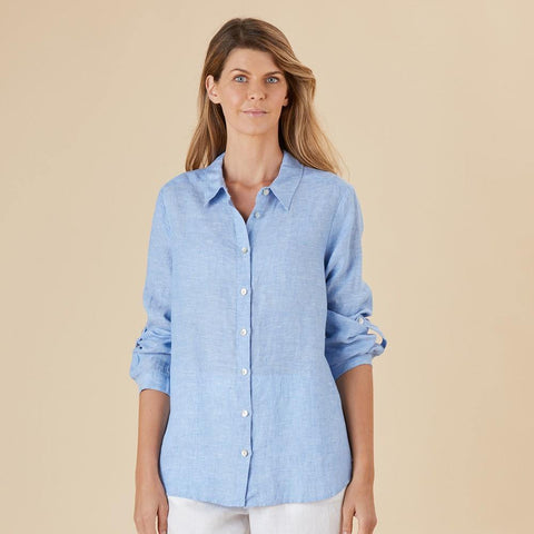 San Remo Cross Dye Linen Shirt by Hammock & Vine