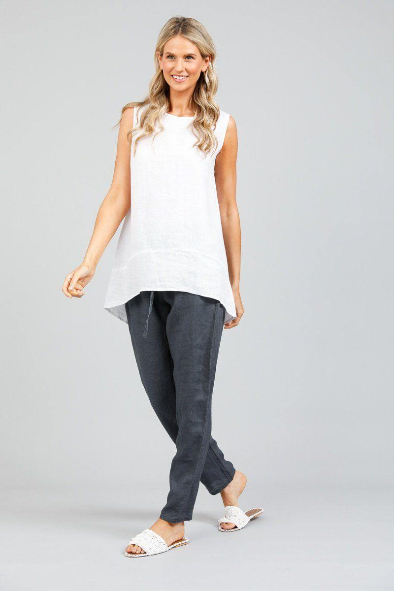 Bora Bora Tank Top in White Linen by Holiday - Weekends on 2nd Ave
