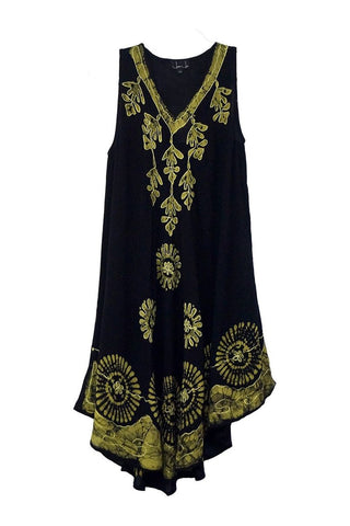 Embroidered Green & Black Midi Beach Dress - Jaipur Joy - Weekends