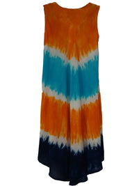 Orange & Black Tie Dye Beach Dress - Jaipur Joy | Buy Online at Weekends