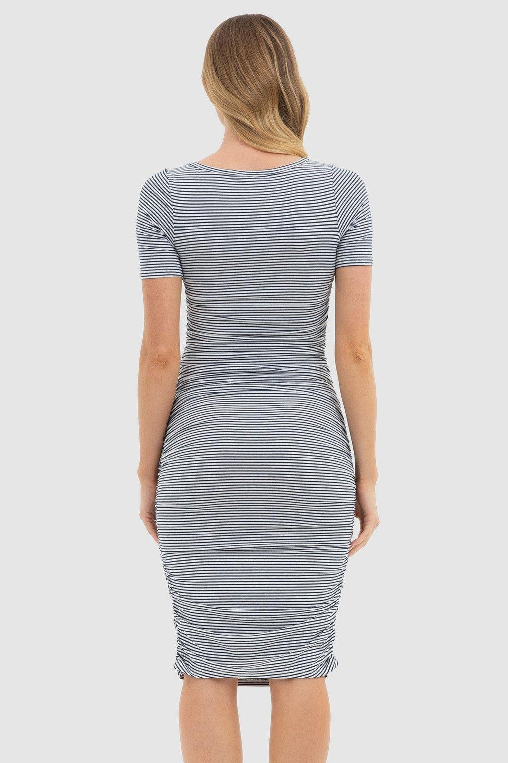 Bamboo Body Jasper Ruched Dress - Navy & White Stripe | Buy Online at Weekends