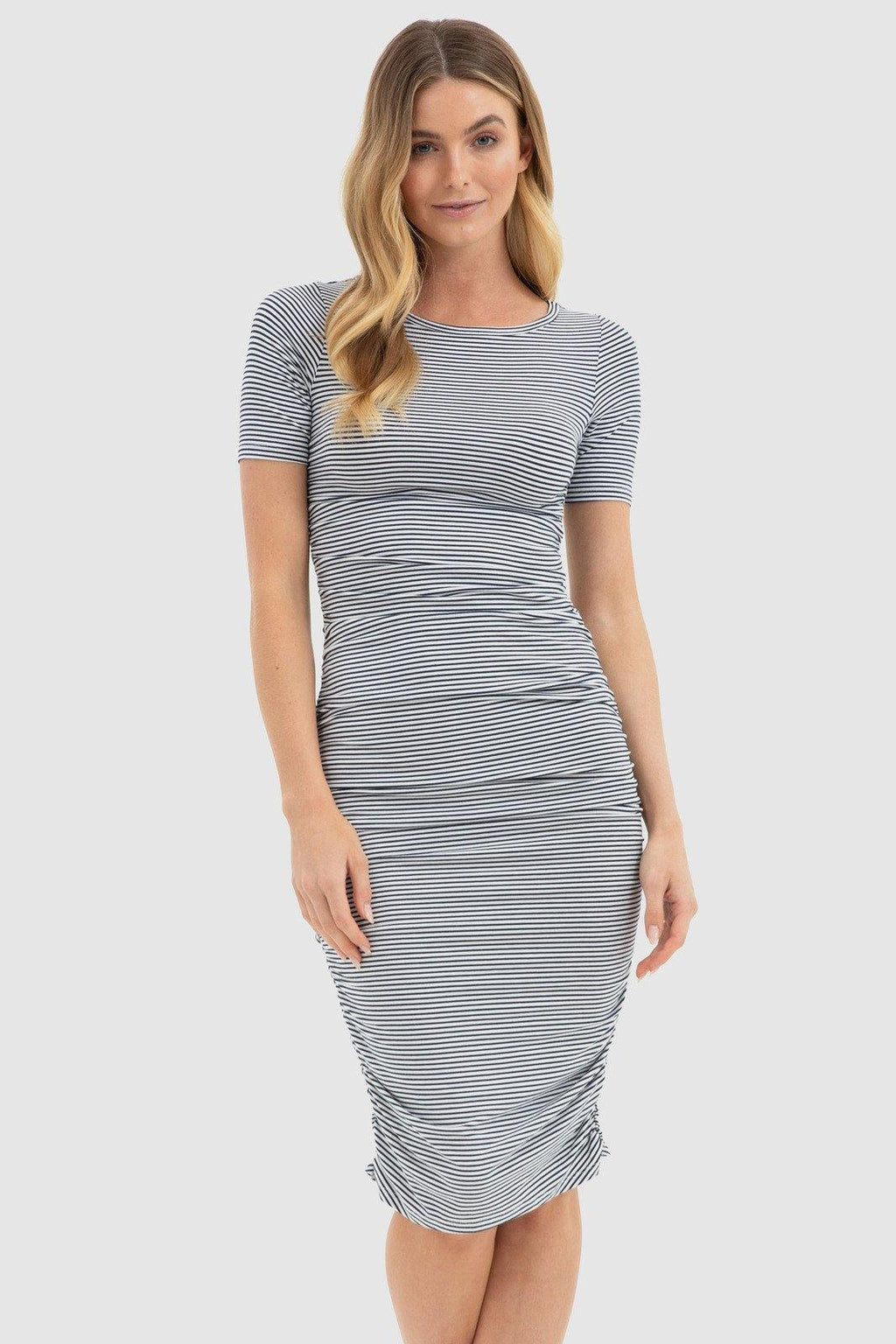 Jasper Ruched Dress - Navy + White Stripe - Bamboo Body | Buy Online at Weekends