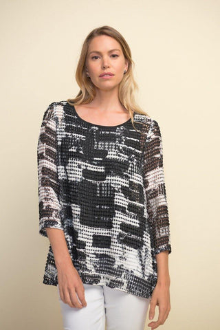 Mesh Textured Top by Joseph Ribkoff