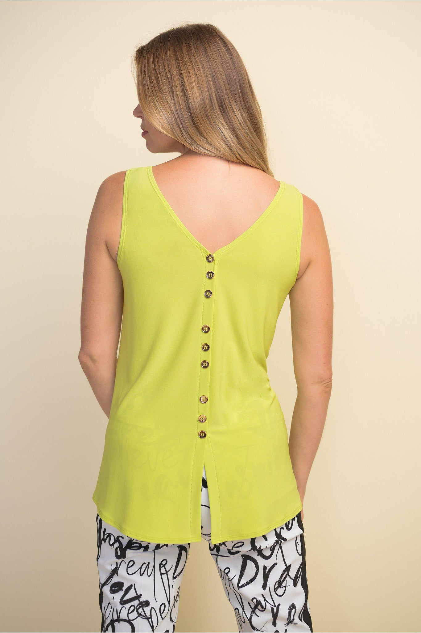 Back Button Top by Joseph Ribkoff style {{product.sku}} - buy from Weekends on 2nd Ave at {{shop.url}} or visit our shop at Second Ave Plaza on the corner of Beaufort Street & Second Avenue Mount Lawley WA
