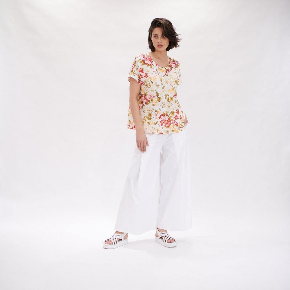 Cap Shell Top in Hibiscus Print by Mela Purdie - Weekends on 2nd Ave - Tops