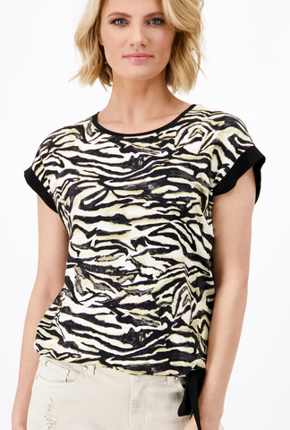 Monari Tiger Print Tee with Contrasting Stripe