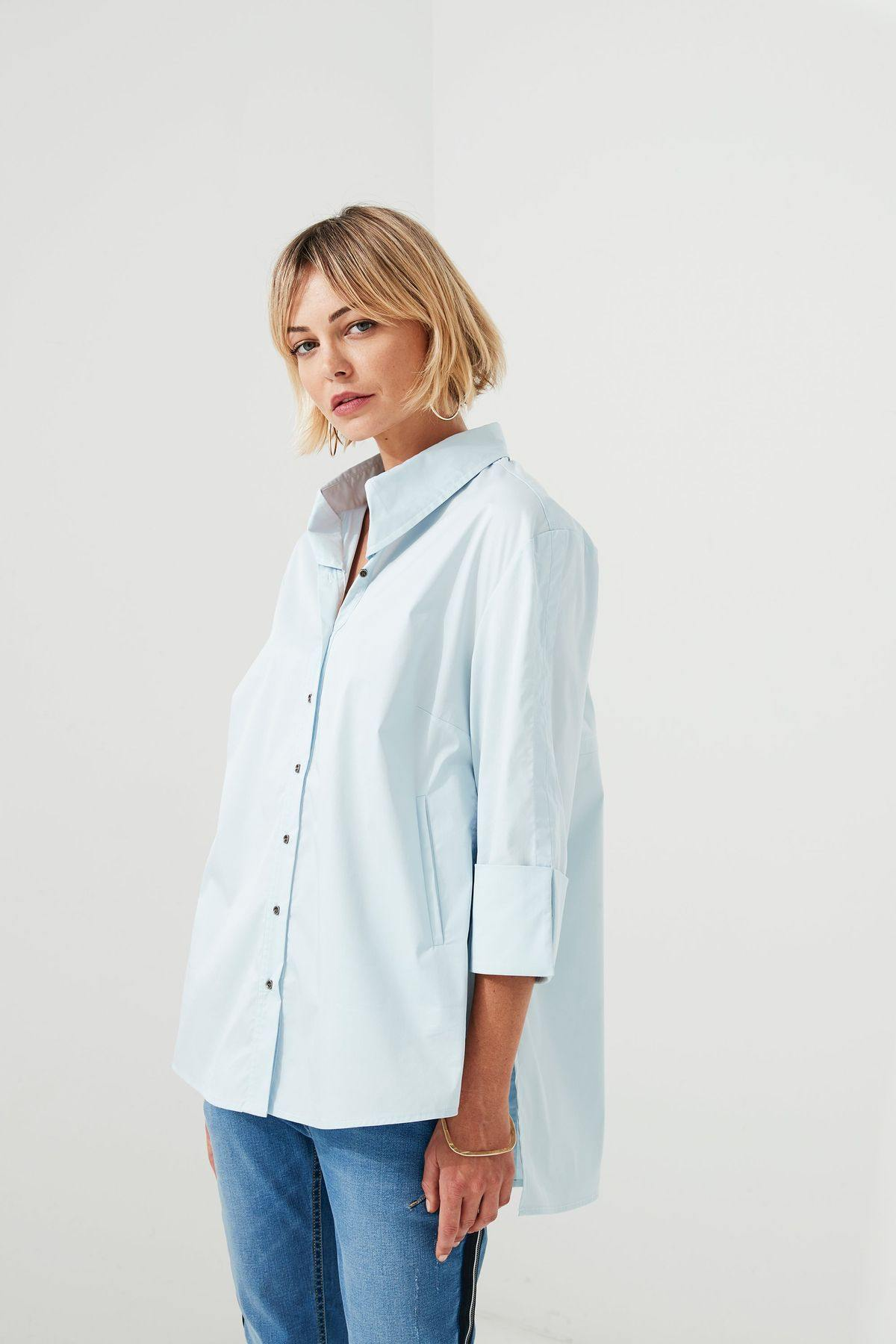 Lania The Label Navigate Shirt in Sky Blue - Weekends on 2nd Ave