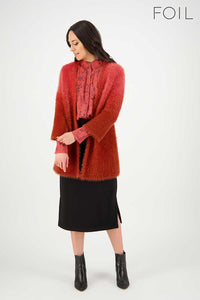 No Way Ombre Cardi in Moss & Red Rock Ombre by Foil
