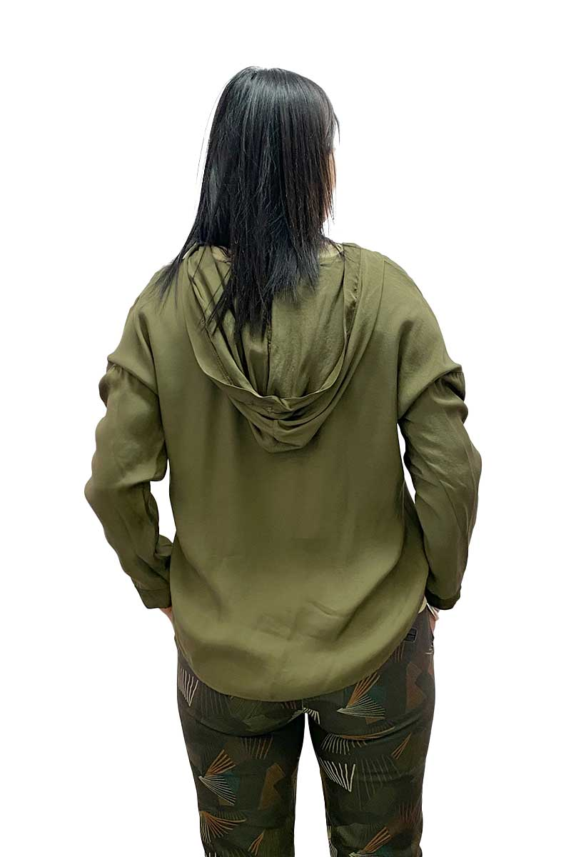 V Neck Top with Hood in Khaki by Pako Litto
