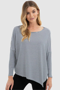 Bamboo Body Relax Boatneck - White & Navy Stripe | Buy Online at Weekends