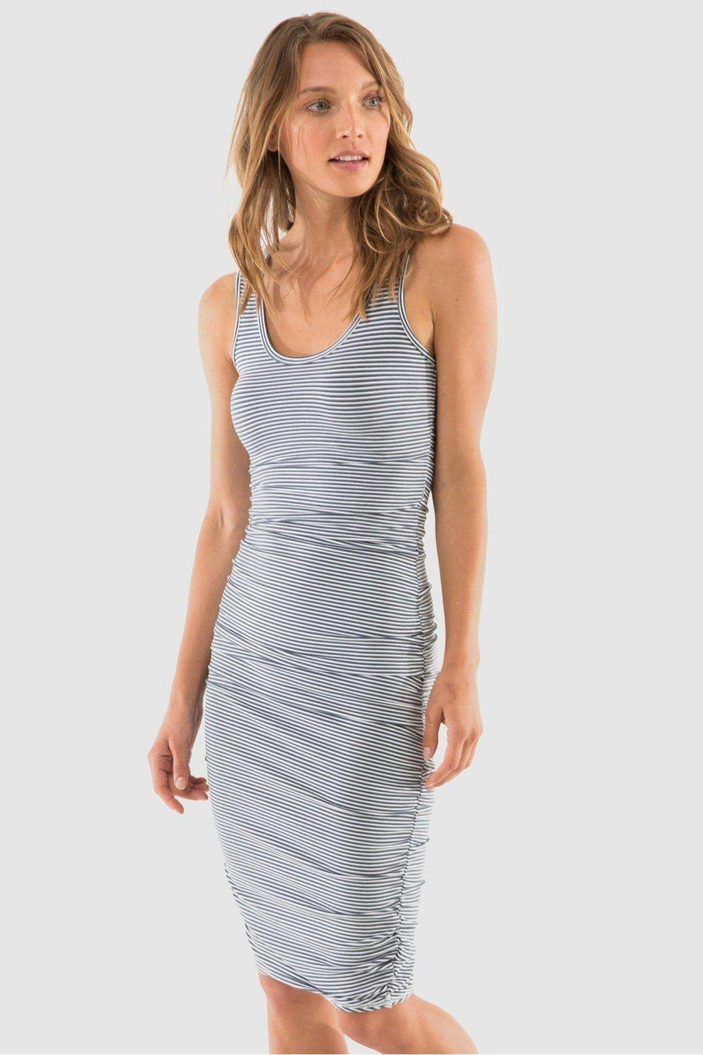 Ruched Bamboo Tank Dress - Navy + White Stripe - Bamboo Body | Buy Online at Weekends