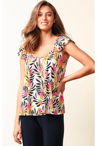 Airlie Top in Pink and White Banksia by Sacha Drake