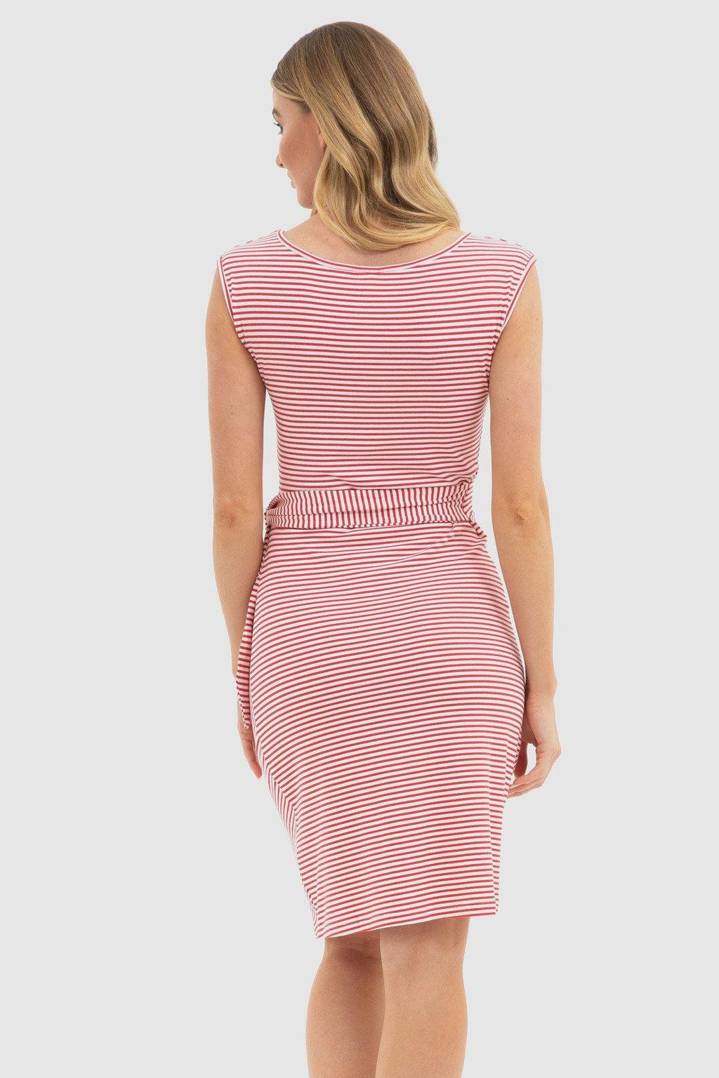 Bamboo Body Shell Dress - Red + White Stripe
