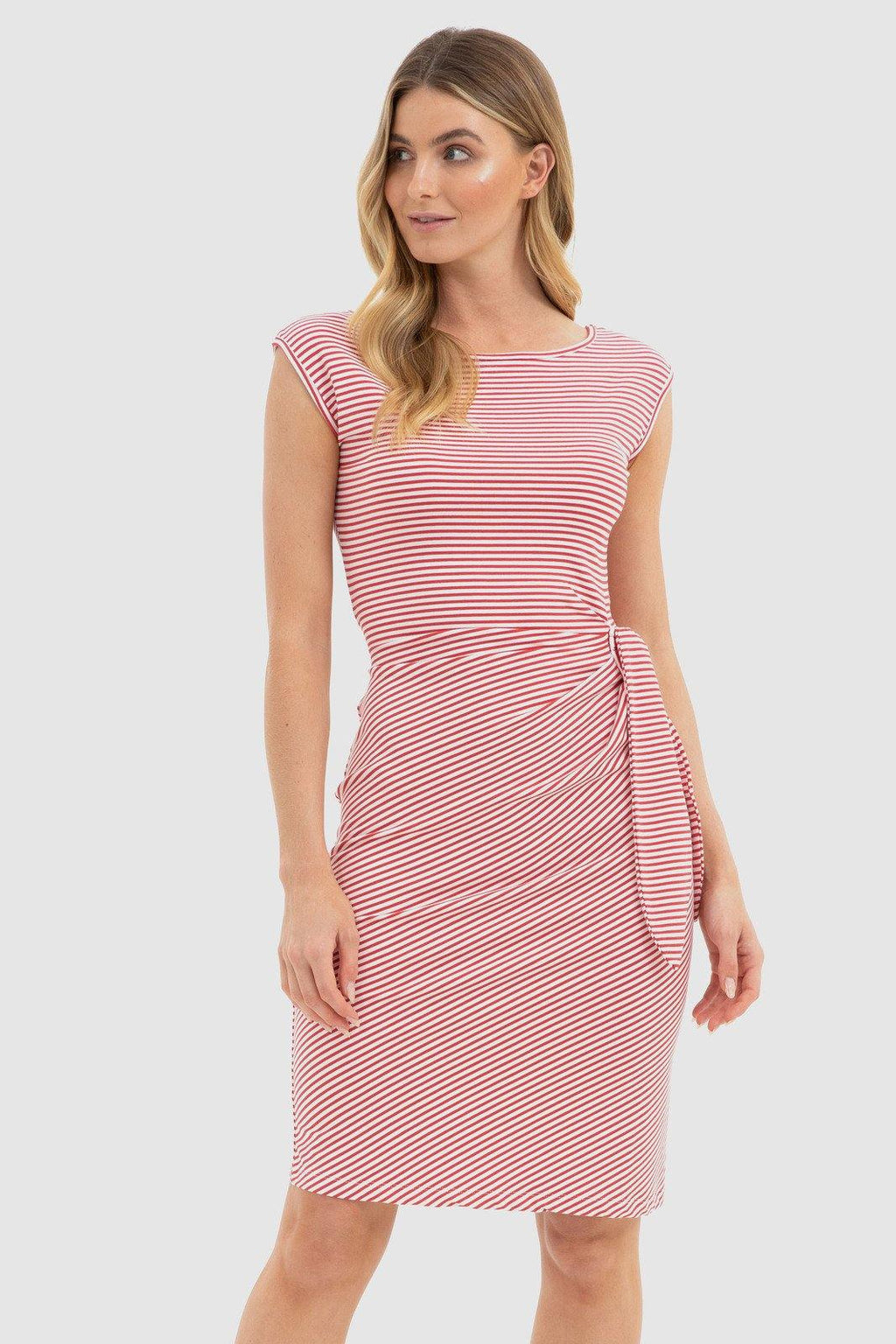 Bamboo Shell Dress - Red + White Stripe - Bamboo Body | Buy Online at Weekends