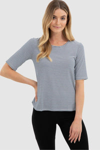 Sophie Top - Navy + White Stripe - Bamboo Body