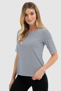 Bamboo Body Sophie Top  - Navy + White Stripe