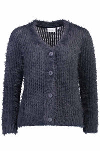 Taped & Feathered Cardi in Stormy by Foil